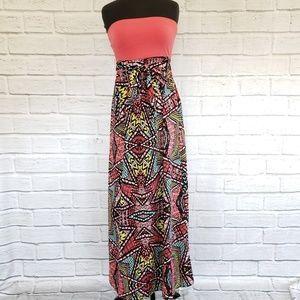 Love Fire Strapless maxi dress